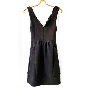 Maeve ruffled Ottoman black mini dress